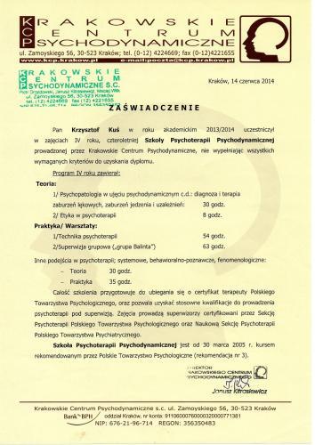 Zaświadczenie o ukończeniu Szkoły Psychoterapii Psychodynamicznej mgr Krzysztof Kuś