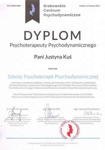 Dyplom psychoterapeuty mgr Justyna Kuś